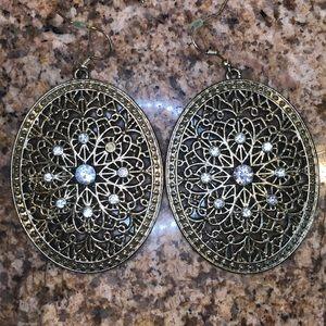 Large Oval Gold & Rhinestone Earrings